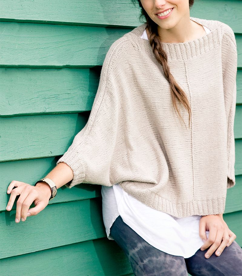Free Knitting Pattern for Ana Poncho Top - Pullover with dolman ...