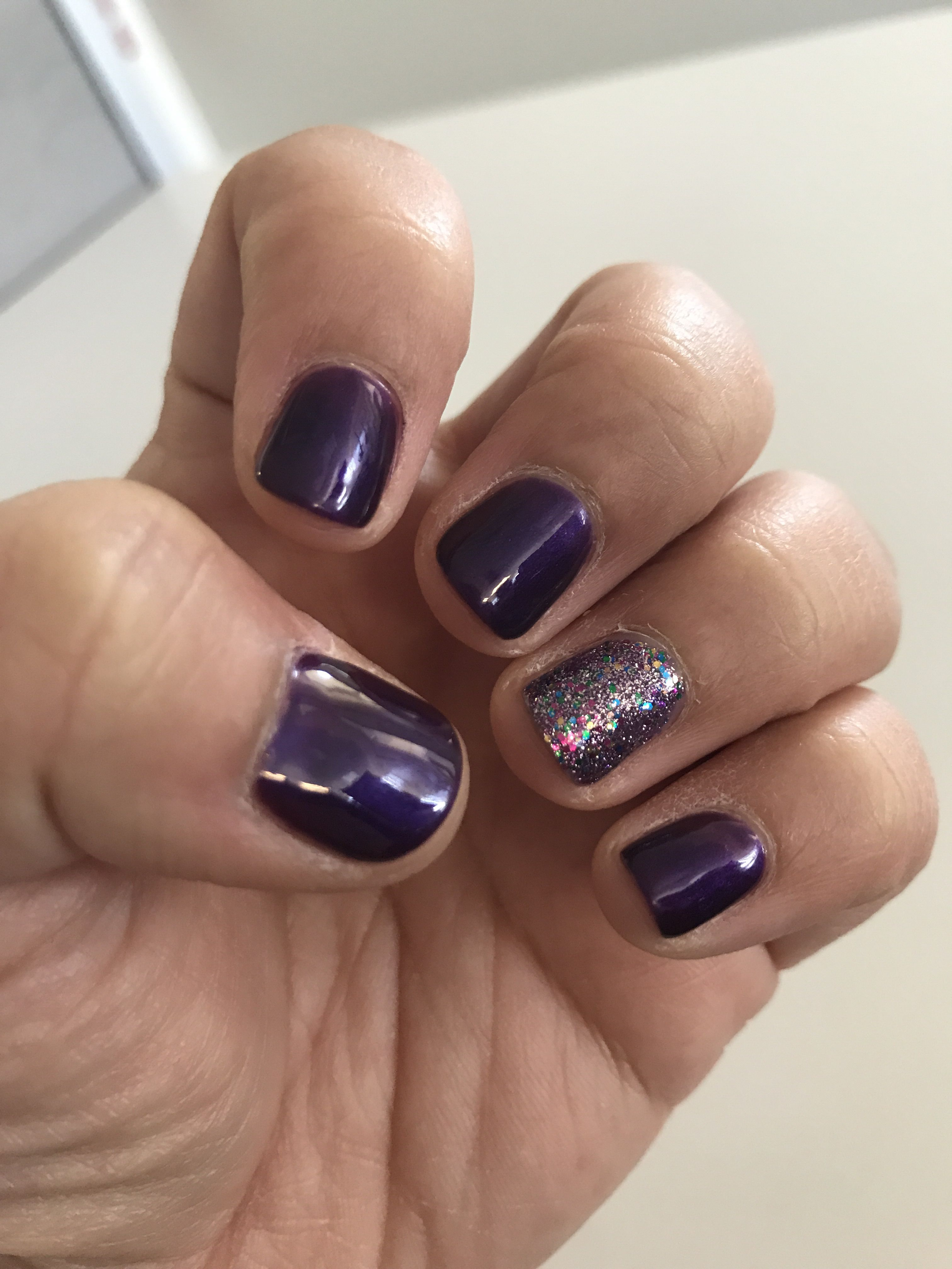 Dark purple with glitter accent nail | Pretty Nails | Pinterest ...