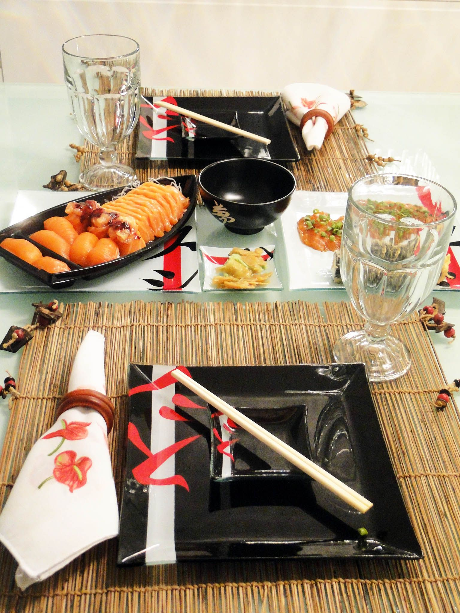 Japanese Style Table Setting Japanese Decor Dinner Party Tablescape Minus The Fortune Cookies