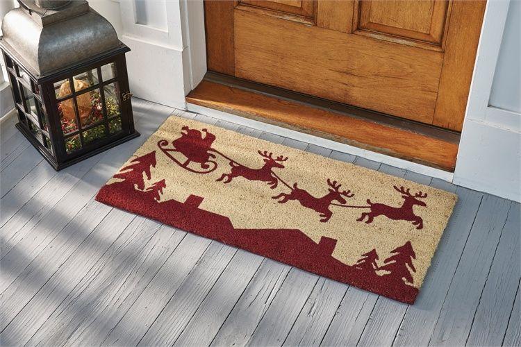 Here Comes Santa Coir Christmas Doormat Christmas Doormat Door