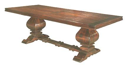 Cowboy Heritage Western Table Western Dining Tables - All of your gatherings will be special occasions when your guests are seated around this beautifully crafted solid wood table. Two beefy pedestals support a richly finished table top that will show off your best dinnerware or buffet.