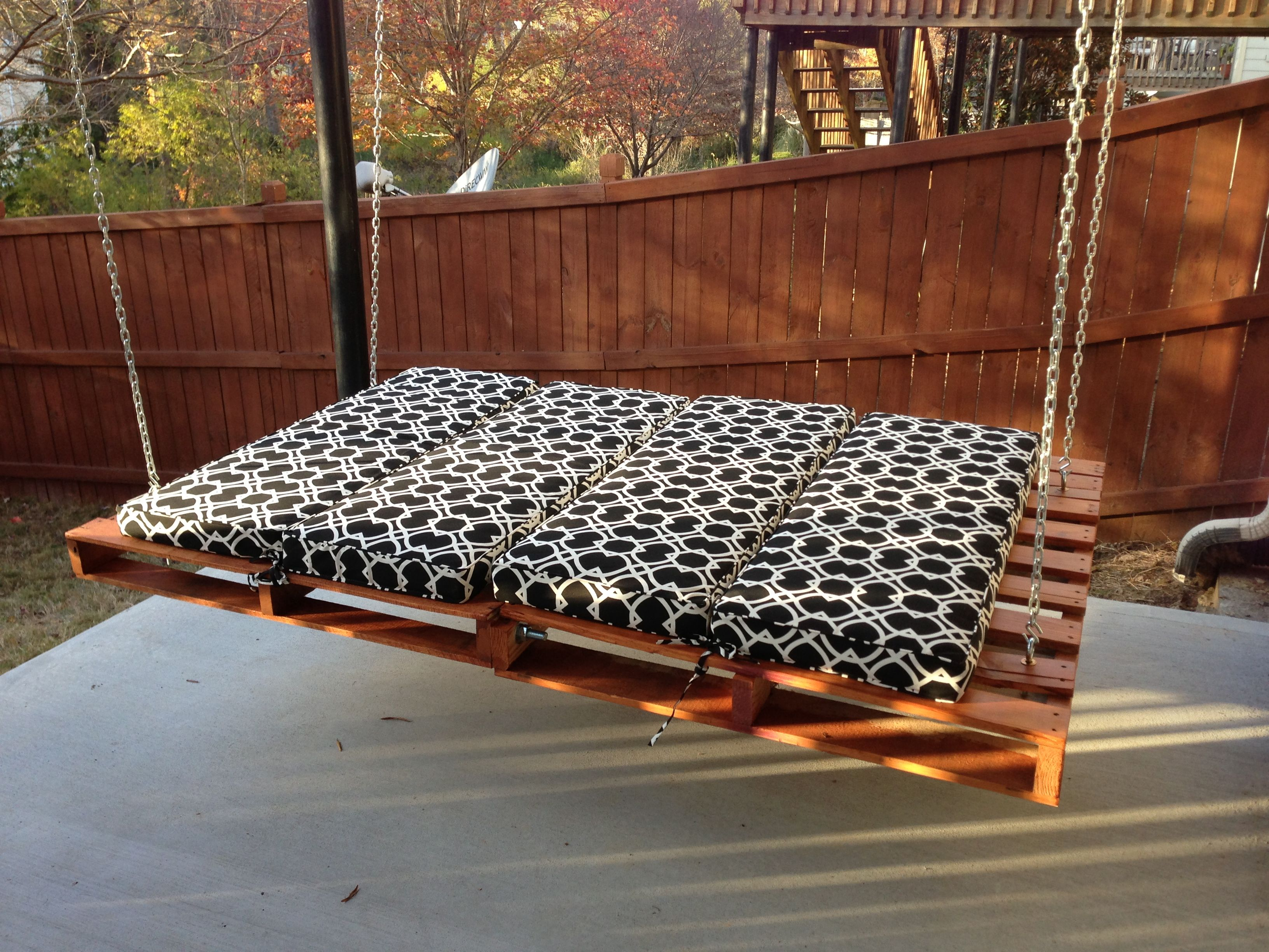 Pallet Patio Swing classy relaxing hanging beds with wooden fencing as decorate