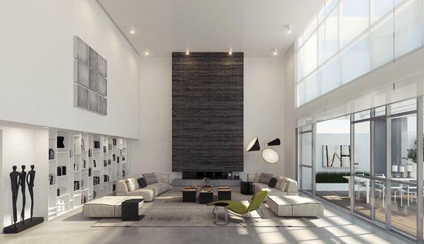 Flachdach Decken Minimalist : Hohe decke design minimalistisch ando studio wohnzimmer