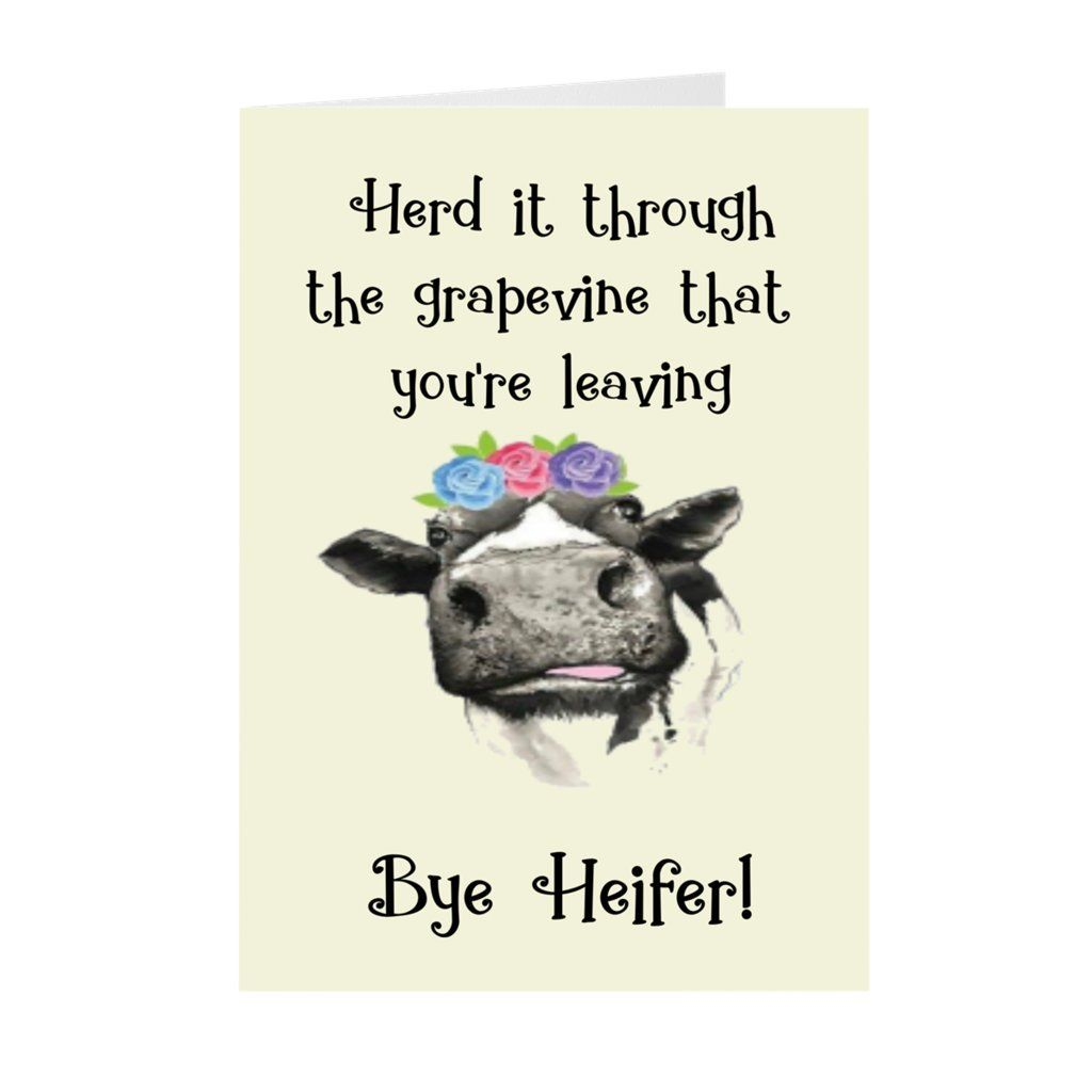 Card for coworkercoworker cardfunny heifer card