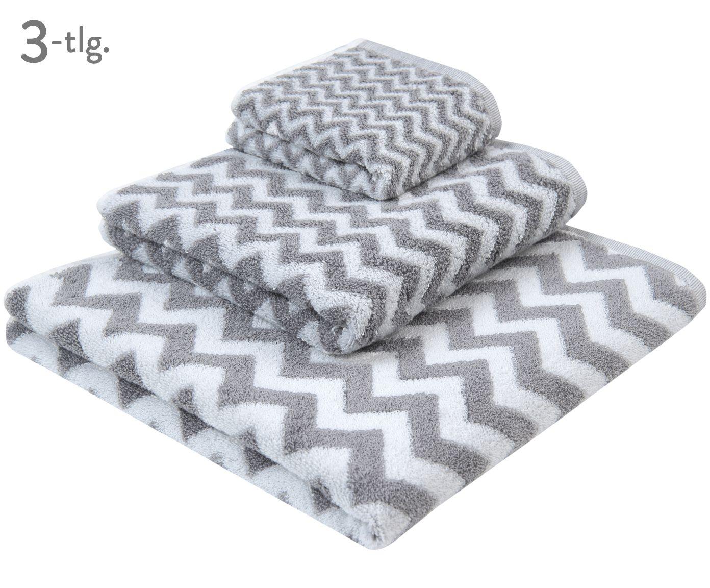 Entdecken Sie Handtuch-Set Liv, 3-tlg. in Grau, Weiß jetzt bei >> WestwingNow. Lassen Sie sich von mjukis. inspirieren