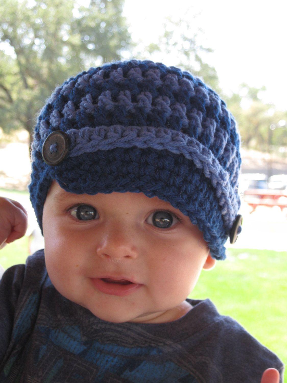 5bbf25497bf8e Baby Crochet Hat Newsboy Style.  18.00