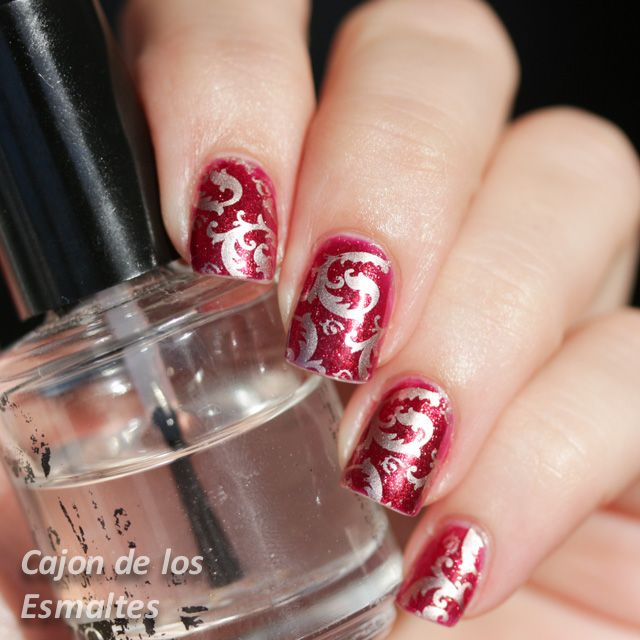 Uñas decoradas elegantes - Estampado de brocado | Wide nails, Mani ...