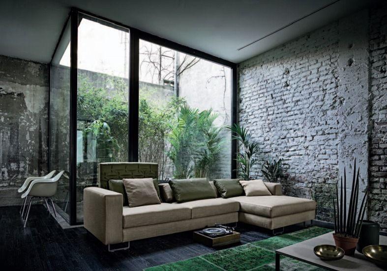 Exposed brick wall + patio + Eames.