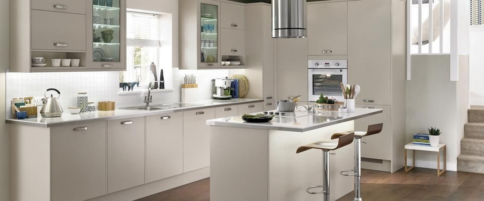 Perfect For A Modern Compact Kitchen, Where Space Is Limited, Create Storage With  Deeper Wall Units And Bespoke Shelving Using Greenwich Gloss Cashmere  Kitchen.