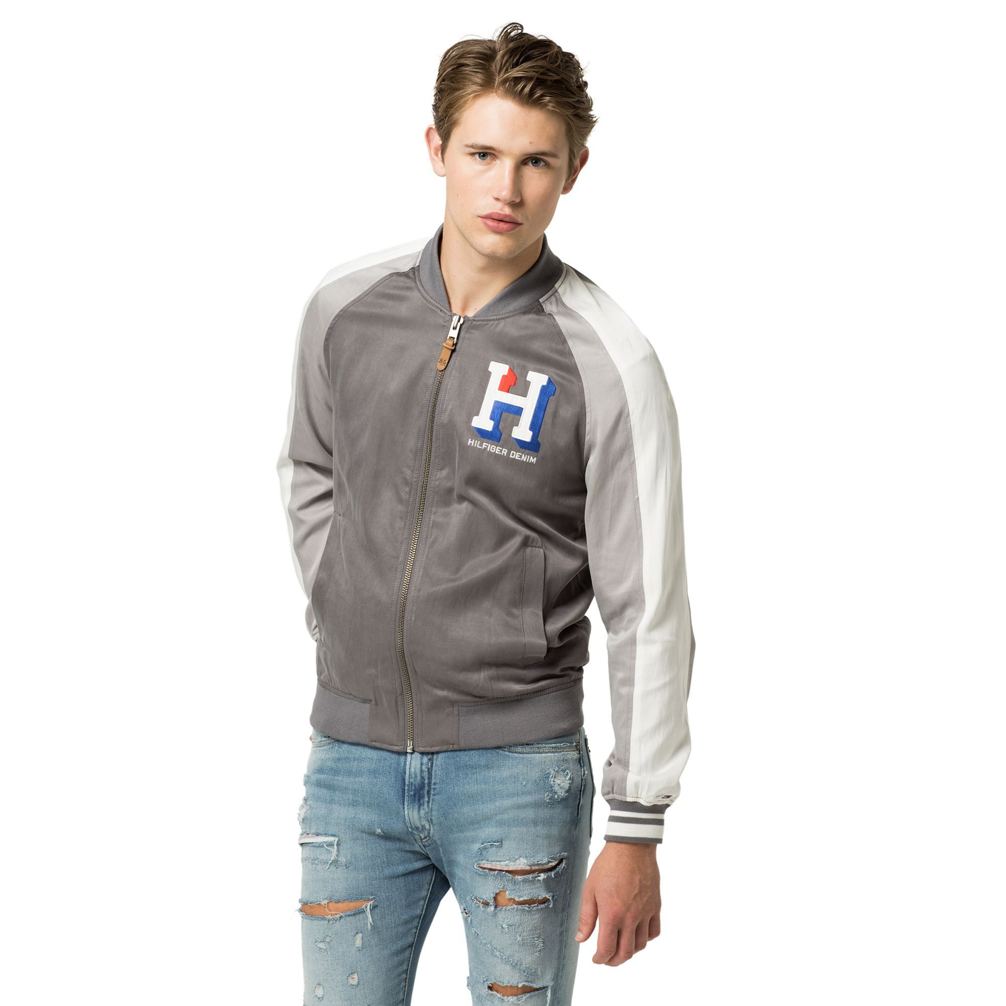TOMMY HILFIGER VARSITY BOMBER JACKET SMOKED PEARL MULTI