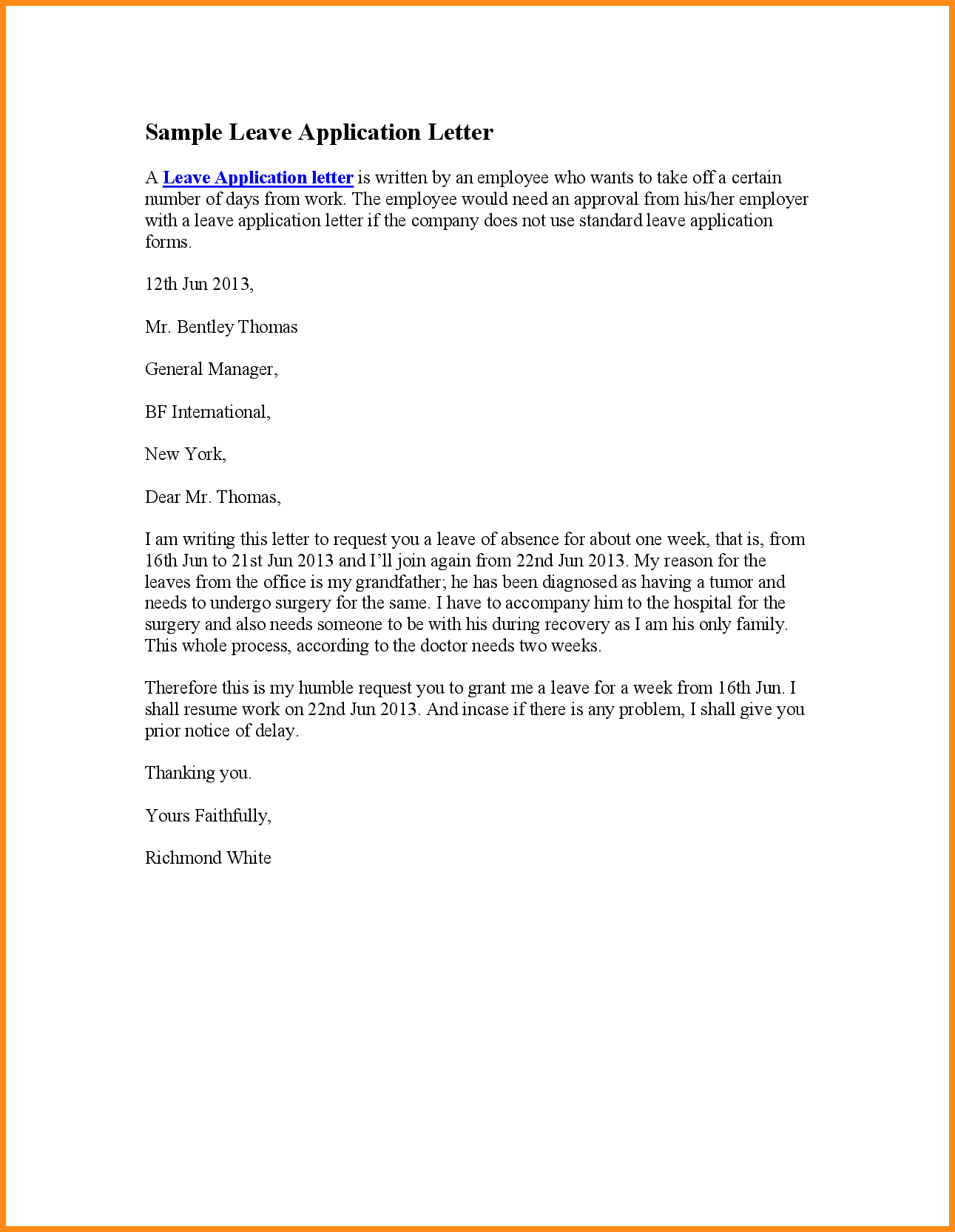 Beautiful Sample Leave Application Pictures Office Resume Letter