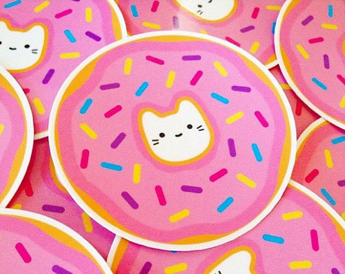"Donut Cat Vinyl Sticker - 3"" Weatherproof Decal - Cute ..."
