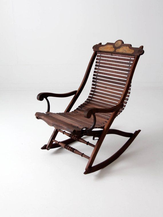 antique rocking chair, Victorian slat wood lounge rocker chair - Antique Rocking Chair, Victorian Slat Wood Lounge Rocker Chair