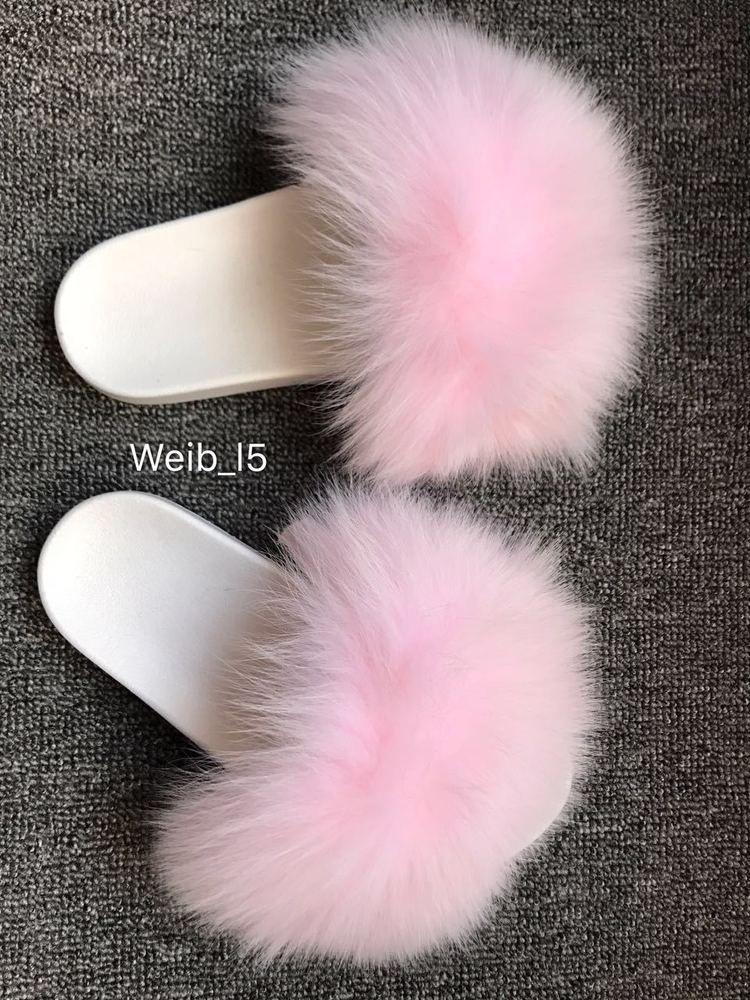 White-Womens Real Fox Fur Slippers Slides Summer Flat Sandals Beach Shoes w PVC Soles