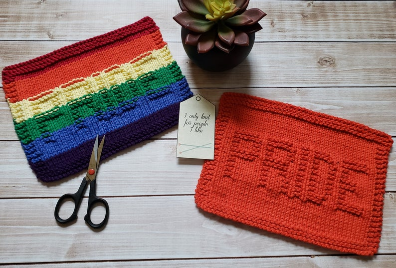 Pride Knit Dishcloth PDF Pattern - Easy Beginner Knitting ...