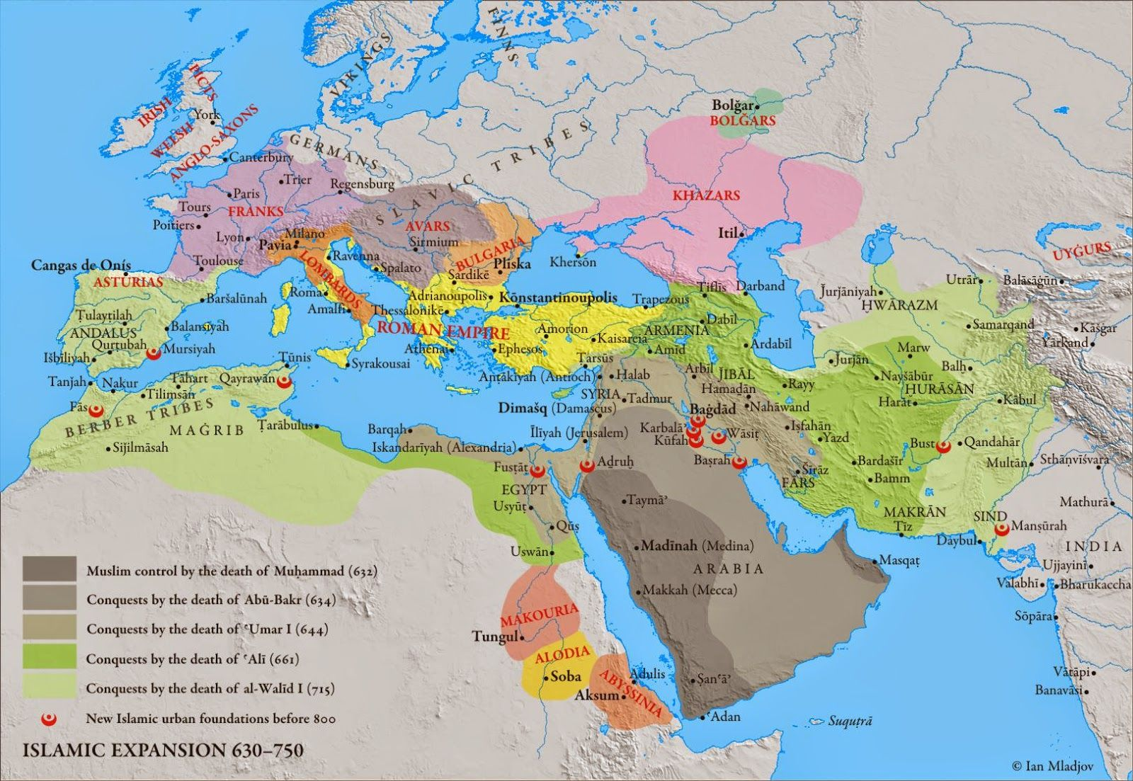 Islamic Expansion 630 To 750ce Geografia E Historia Edad Media Mapas
