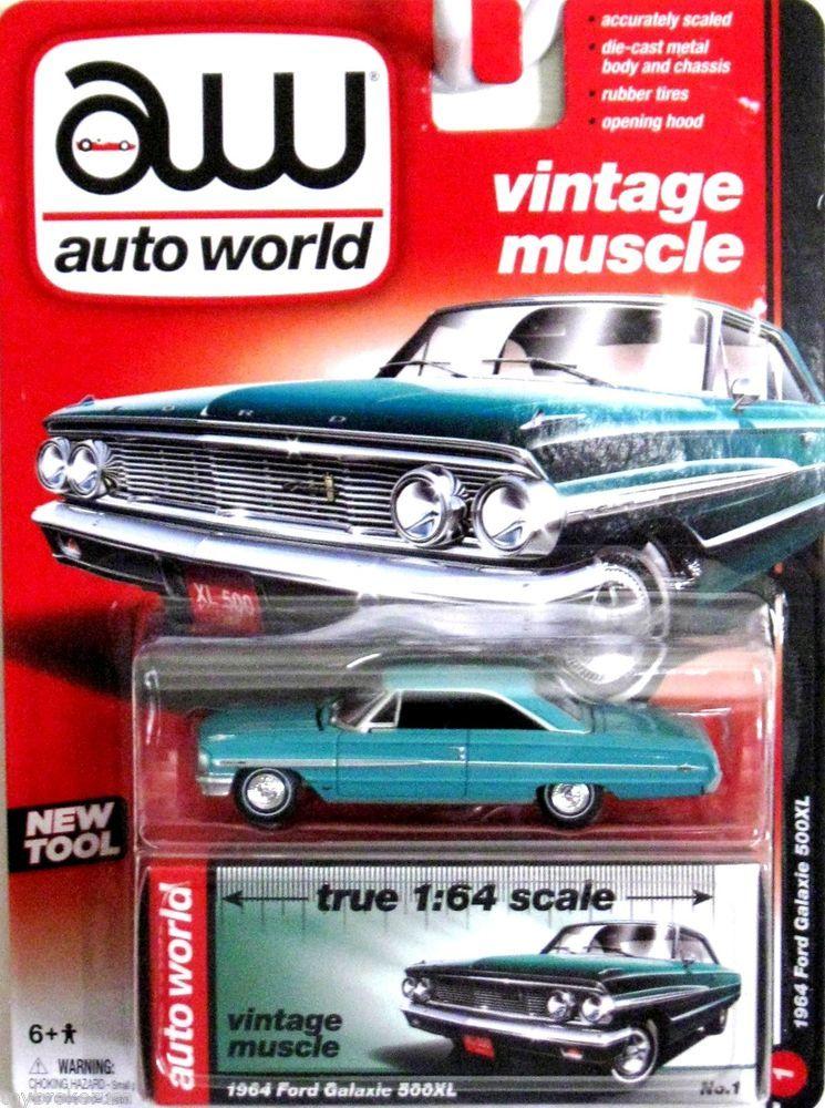 1964 Ford Galaxie 500XL AUTO WORLD True 1:64 Scale Premium All Metal ...