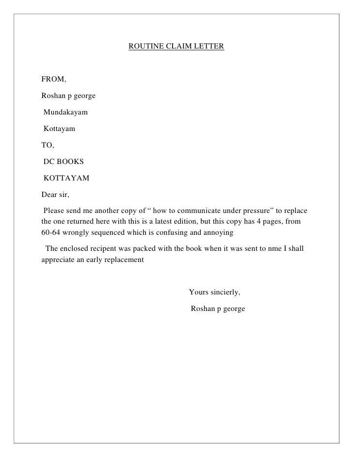 Business Letter Format About Claim Sample How Write Response