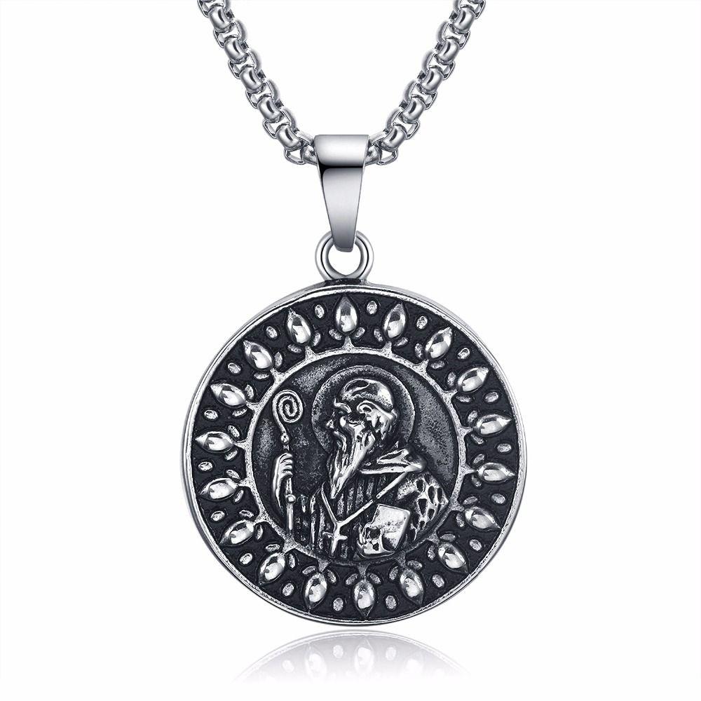 L stainless steel men necklace saint benedict us pendant necklace