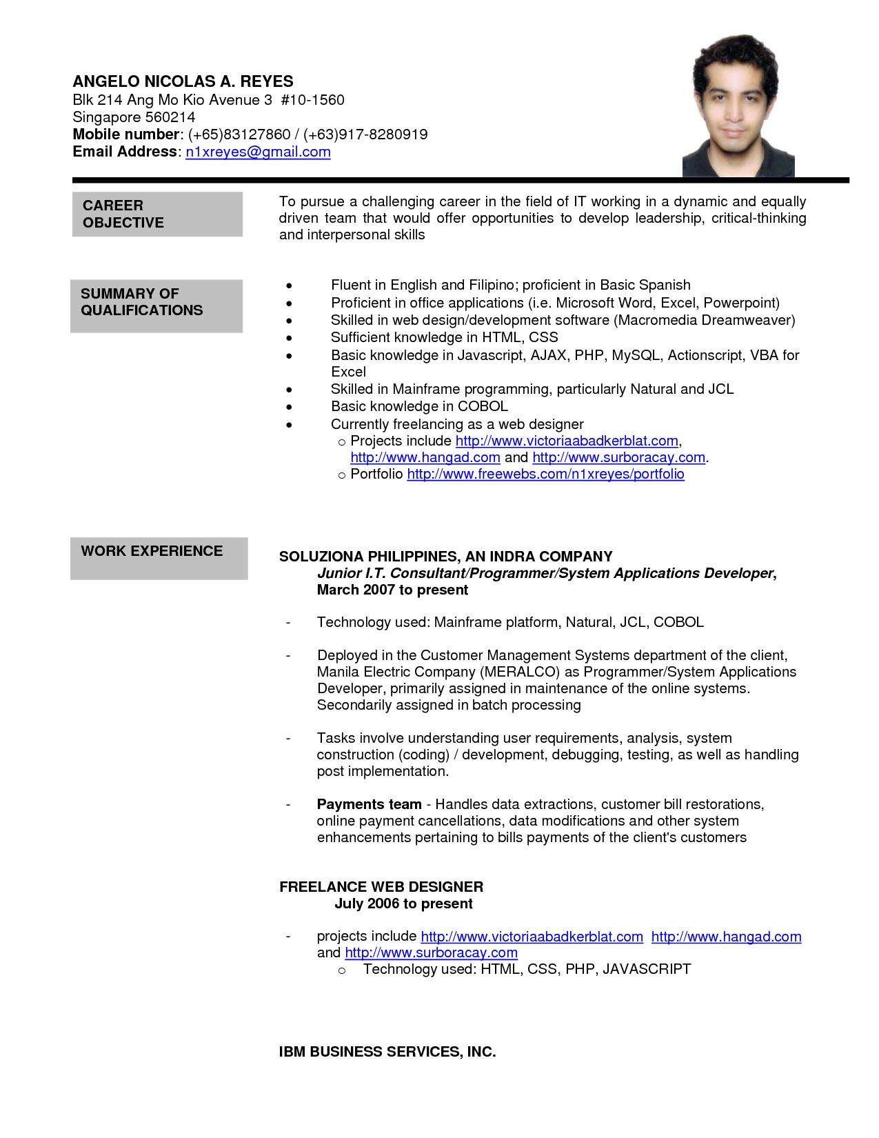 resume templates singapore template