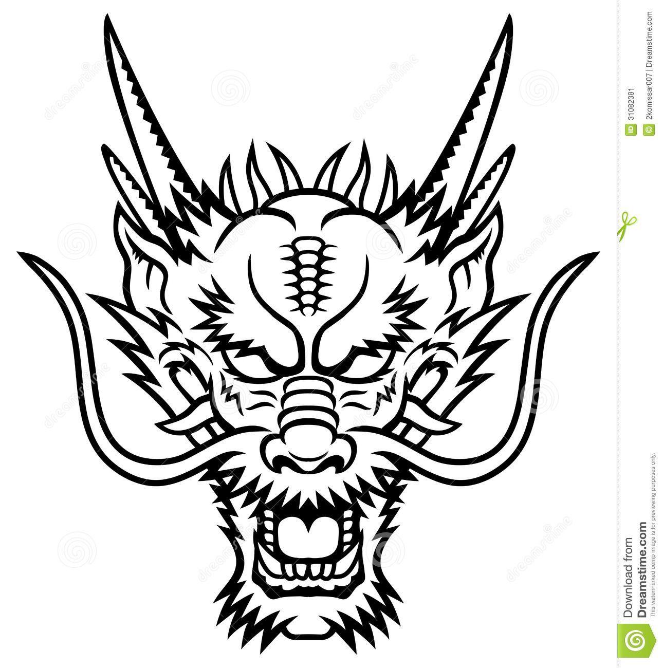 Cabezas De Dragones Para Tatuar stock vector | tatuajes de dragón chino, dibujo de cabeza de
