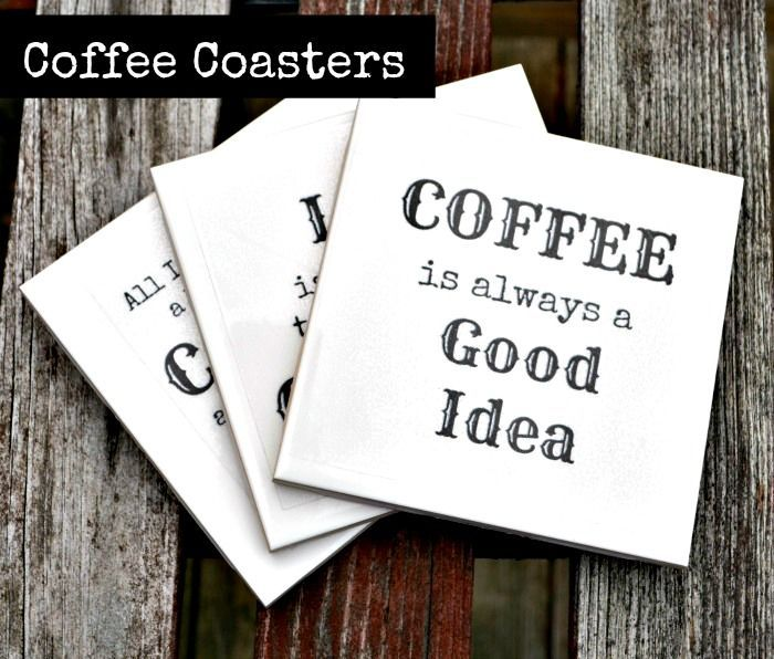 Diy coffee coasters made with the silhouette cameo and clear sticker paper