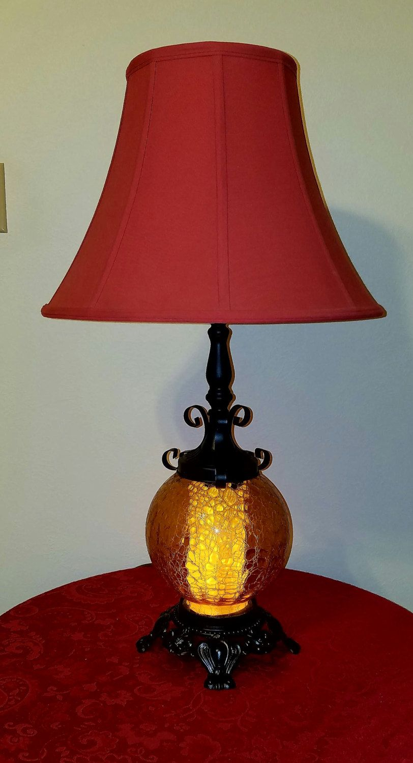Glass Crackle Lamp Vintage Restored Amber Crackle Glass Goth Lamp By Rejuvinationz On