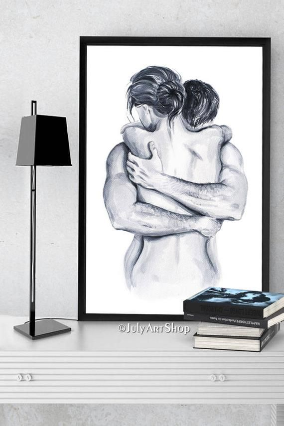 Photo of Lovers Valentine day Card Painting watercolor Man hugs a woman Clipart Black White poster illustration Printable Instant Download Love gift