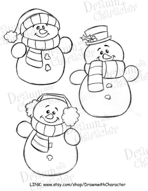 Simple Snowmen Digital Line Art/ KopyKake Image $5 | snowmen ...