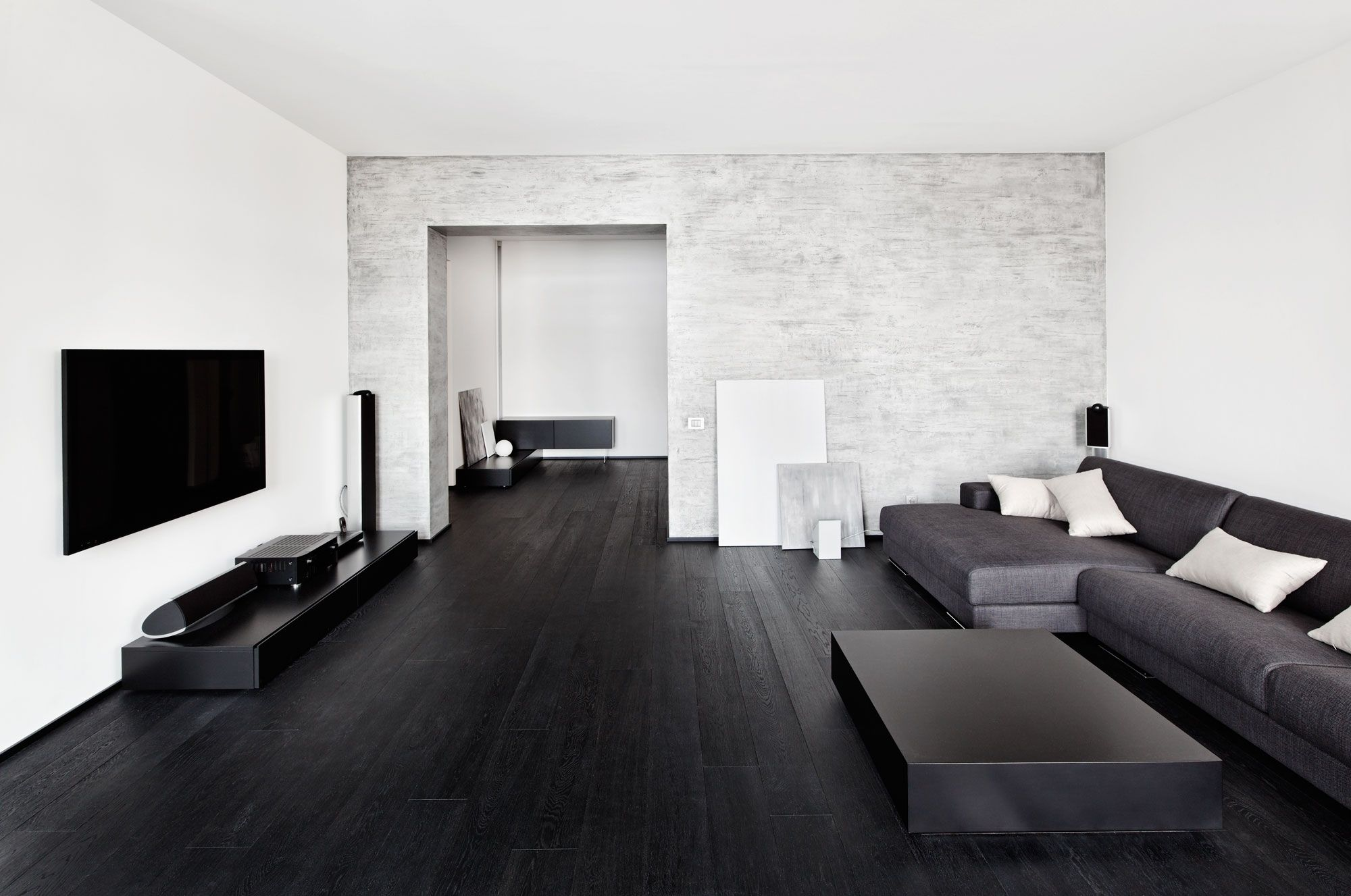 Black Wooden Floors Wooden Floo Black Wood Floors White Walls Dark Wood Floors Living Room Simple Living Room Designs Living Room Wood Floor
