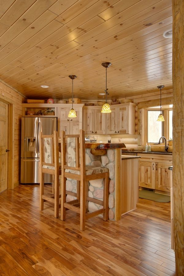 Rustic kitchen design ideas hickory cabinets hardwood for Wood floor and ceiling