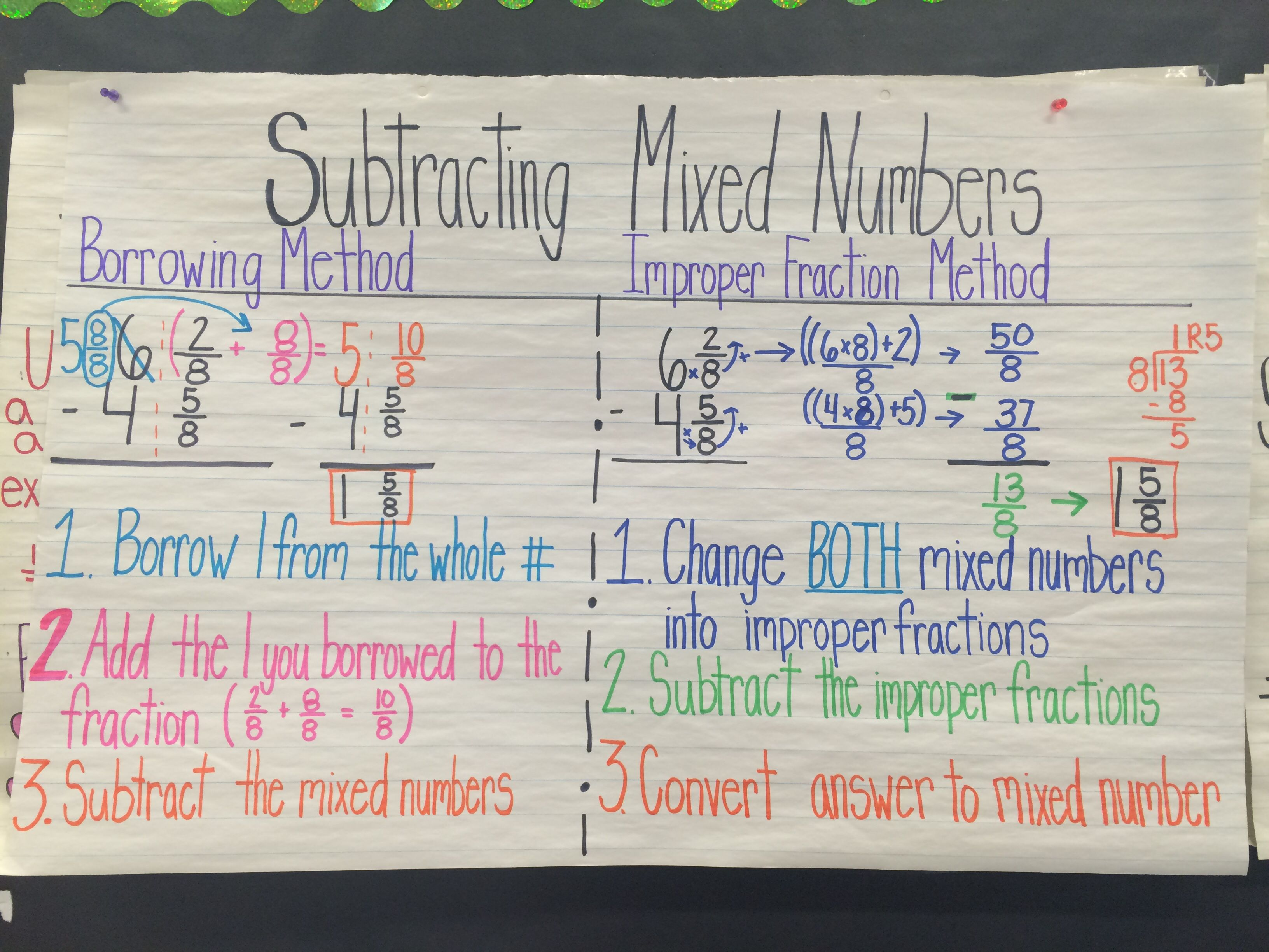 Subtracting mixed numbers anchor chart   Number anchor charts [ 2448 x 3264 Pixel ]