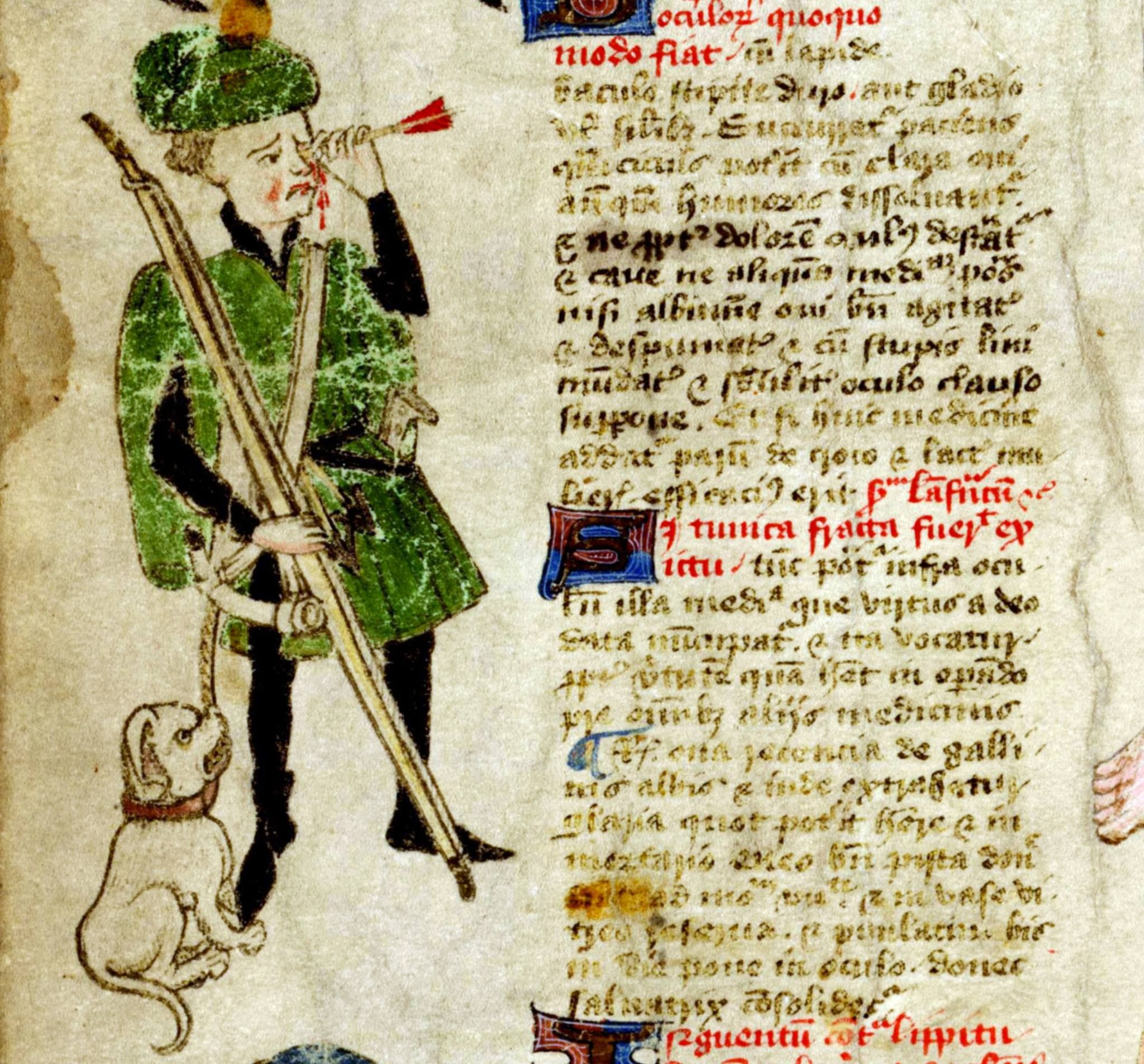 hunting accident  John Arderne, De arte phisicali et de cirurgia, England ca. 1425 (Stockholm, Kungliga biblioteket, X 118)