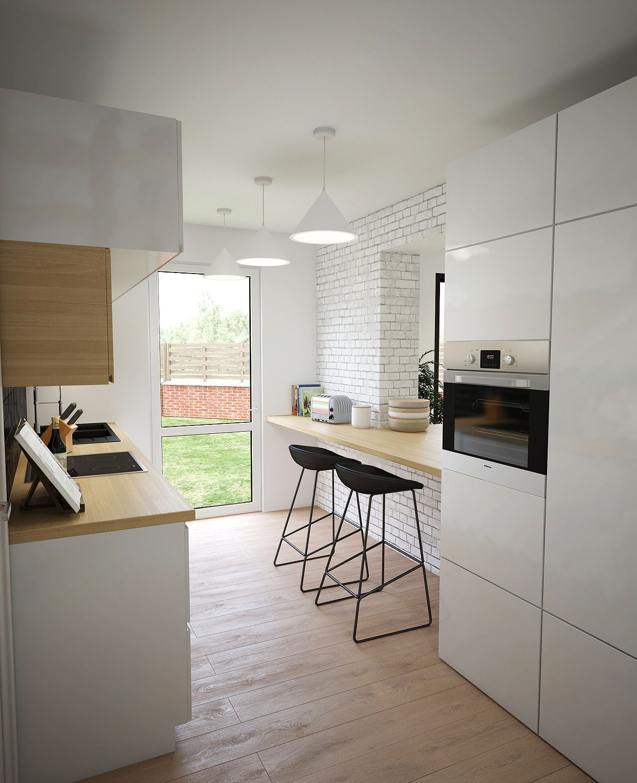 rendu 3d cuisine blanc et bois ilot central table haute silia studio decoratrice strasbourg