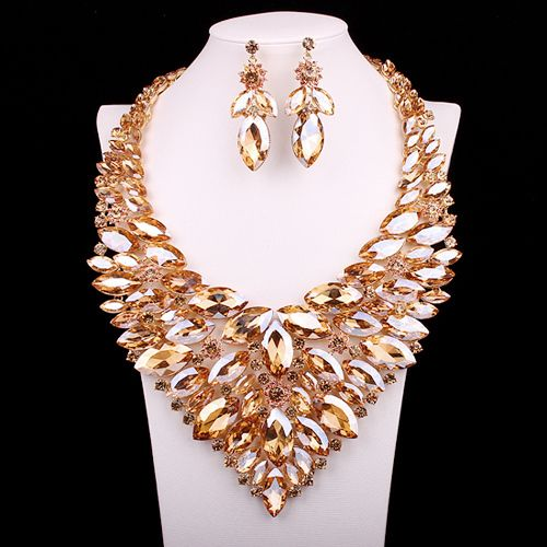 Luxury Red Crystal Jewellery Statement Necklace Earring Gold Plated