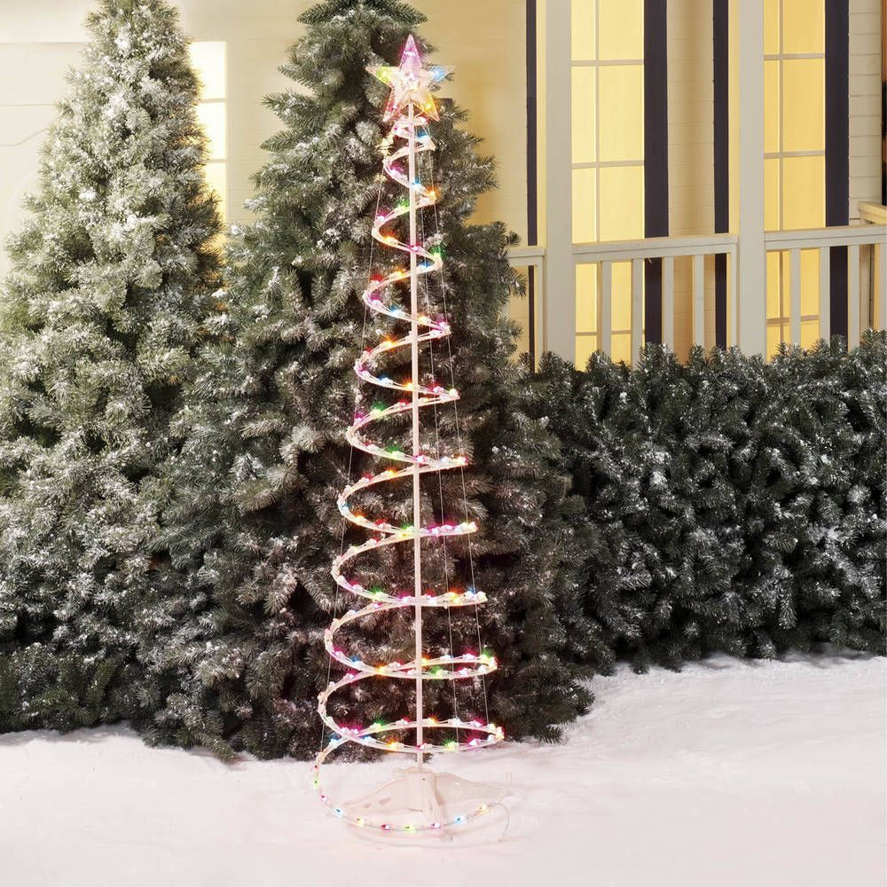 lighted spiral christmas tree set outdoor sculptures 150 lights multi color lightedspiralchristmastreeset