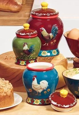 Set Of 3 Roosters Sunflowers Kitchen Canisters Colorful Kitchen Decor.
