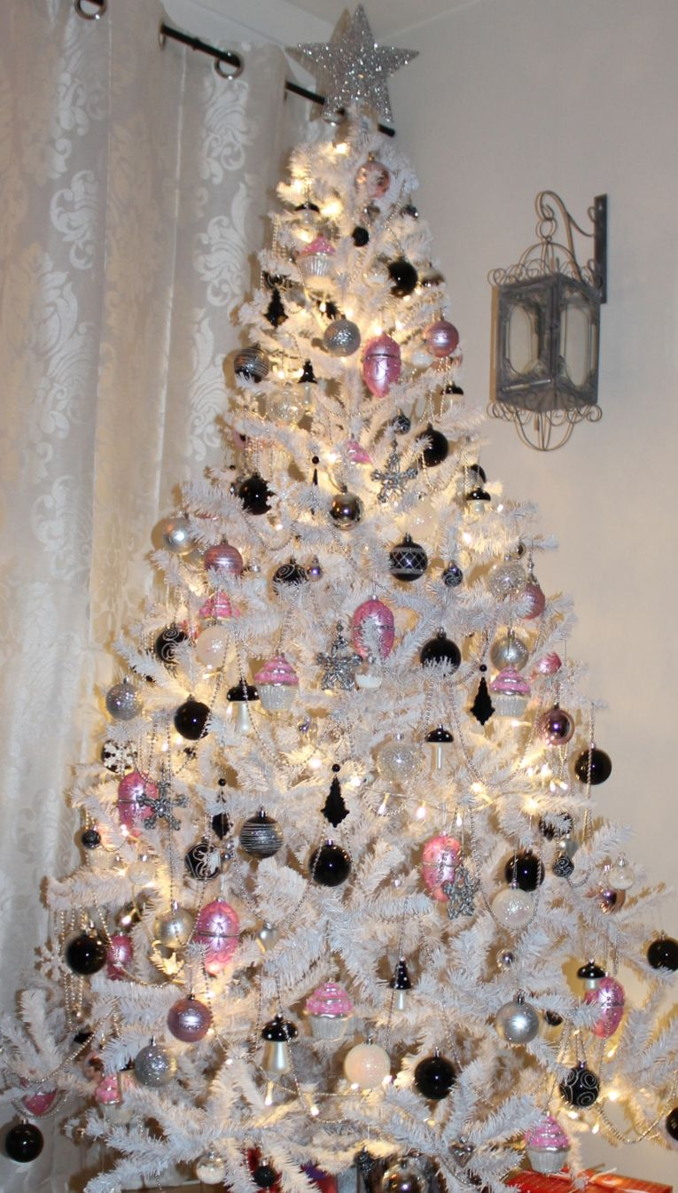 White Christmas Tree With Pink Black And Silver Ornaments Silver Christmas Decorations Christmas Cubicle Decorations Glass Christmas Decorations