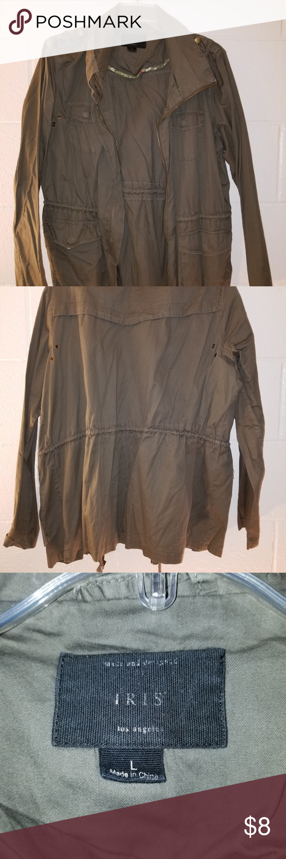 cc0cff56c27e Olive Stringed Coat From IRIS L.A. Fits like a Medium Condition  8 10 iris  Jackets   Coats Utility Jackets