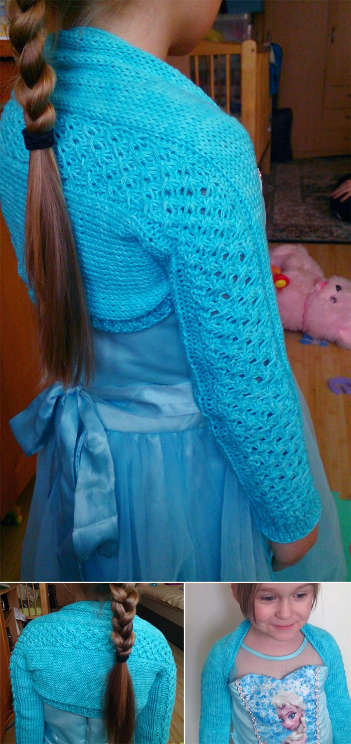 Free Knitting Pattern for Daisy Lace Child\'s Bolero - This easy long ...