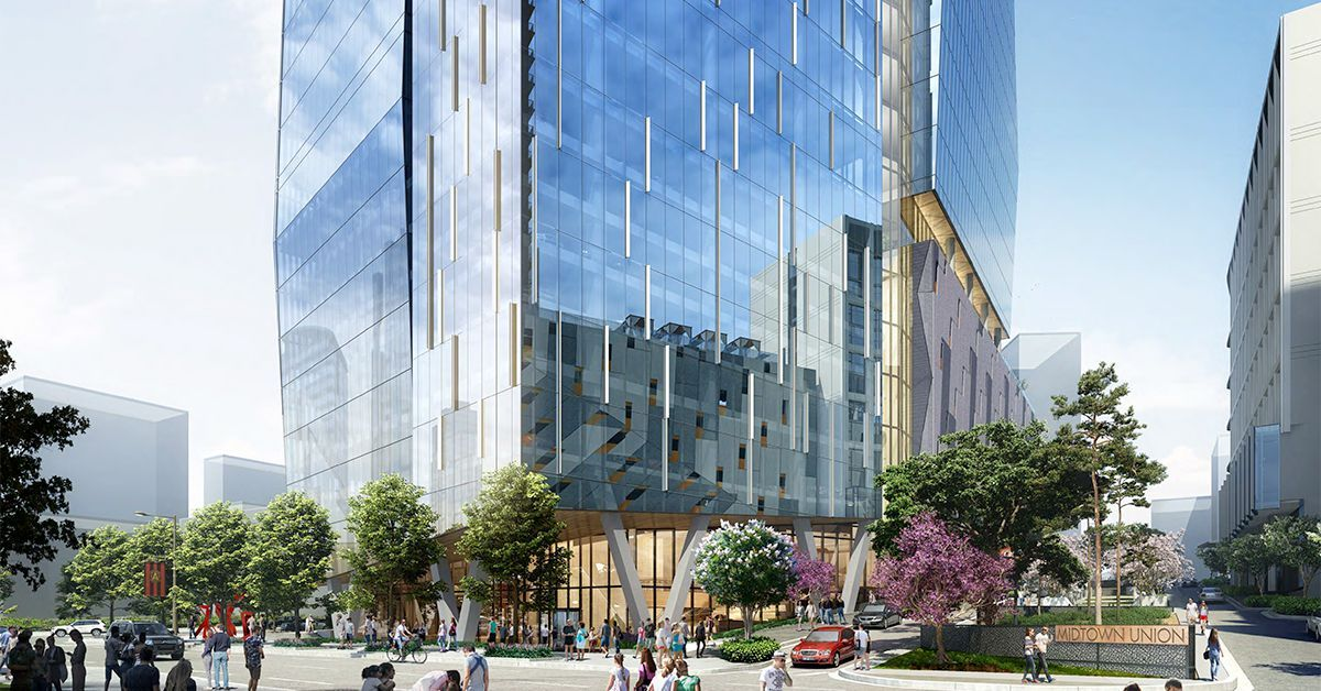 Fresh Renderings Toned Down Version Of Multi Tower Midtown Union Moves Forward Piedmont Park Midtown Office Building