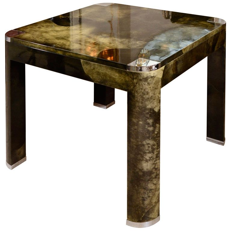 Lacquered Goatskin Expandable Table By Karl Springer