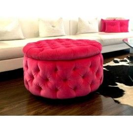 Hot Pink Round Velvet Tufted Ottoman Coffee Table