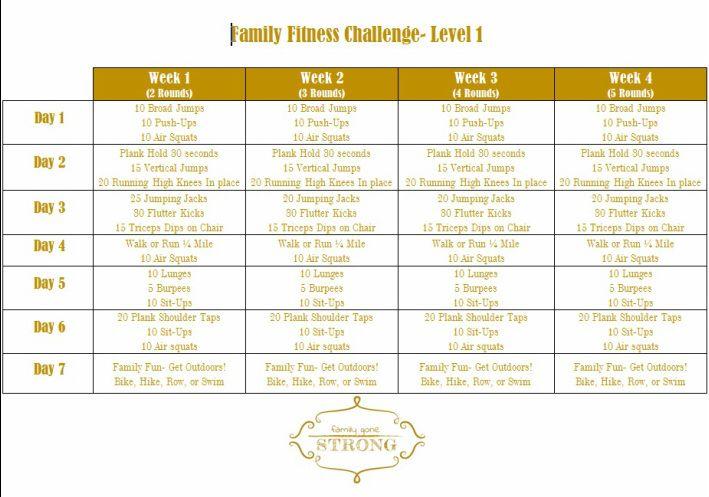 Family Fitness Challenge Family Fitness Challenge Family Fitness Workout Challenge