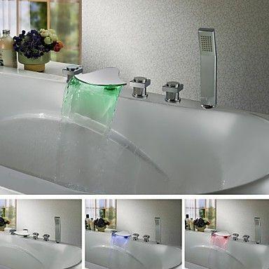 Zeitgenssische Farbwechsel LED Wasserfall Badewanne Wasserhahn ... | {Badewannen armaturen wasserfall 73}