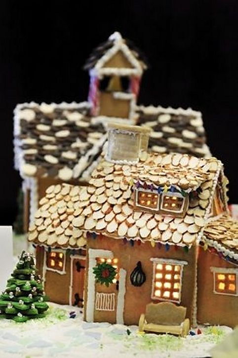 Gingerbread House With Slivered Almond Roof Alternatively Pumpkin Seeds Gingerbread House Decorations Gingerbread House Pictures Christmas Gingerbread House