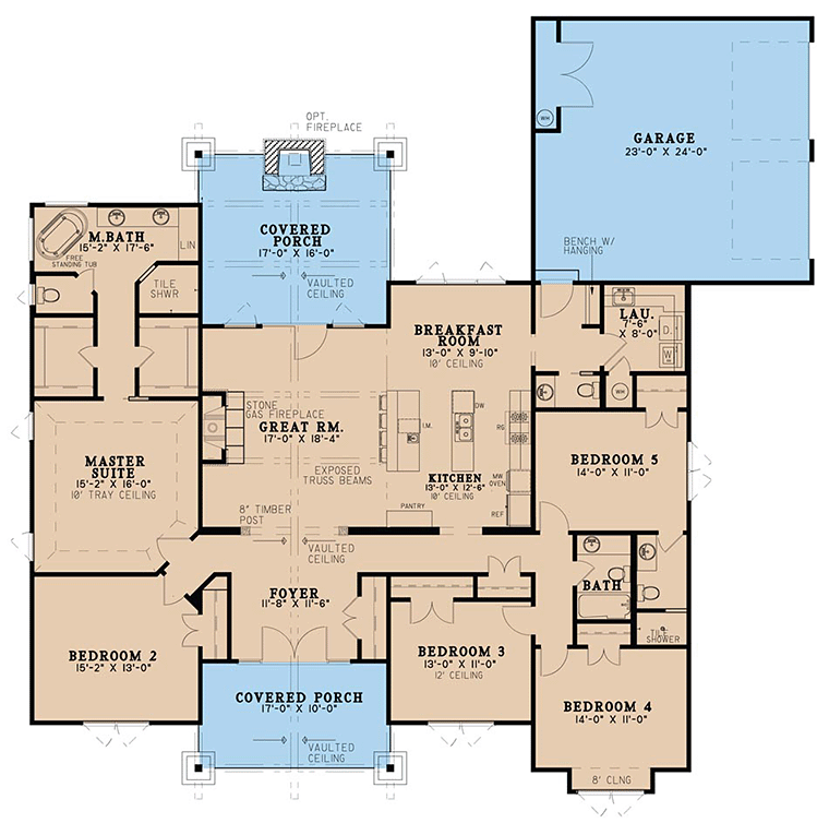 Craftsman Style House Plan with 5 Bed 4 Bath 2 Car Garage