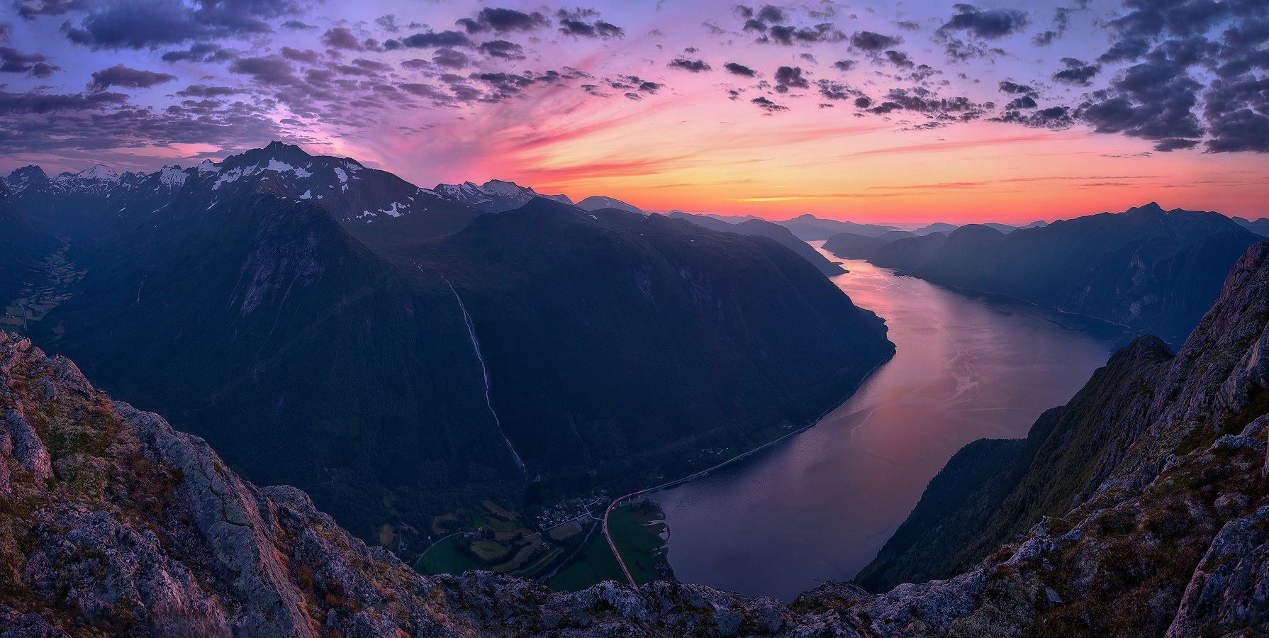To The Sea - Panorama view from Vettafjellet in Sunndal, Norway.