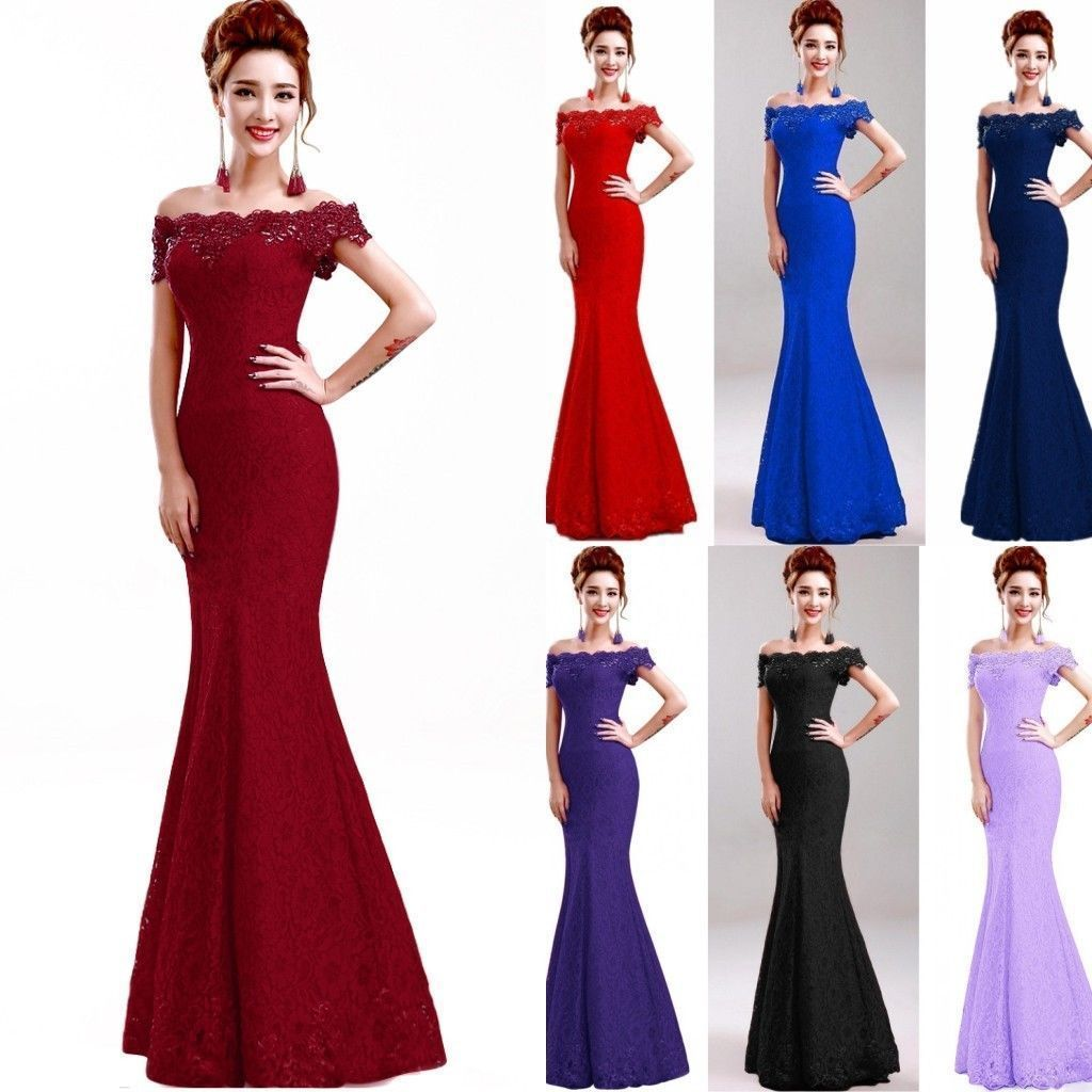 Nice amazing long lace evening formal party dress cocktail prom gown