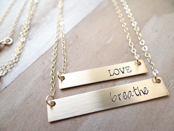 Hand Stamped Beautiful Gold Bar Necklace. Minimalist Jewelry, Engraved Necklace. Layering Necklace, Simple Gold Jewelry, Positive Thoughts